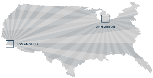 We are based in Ann Arbor, Michigan and Los Angeles, California, but work everywhere